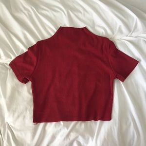 Shein Red Mock Neck Shirt